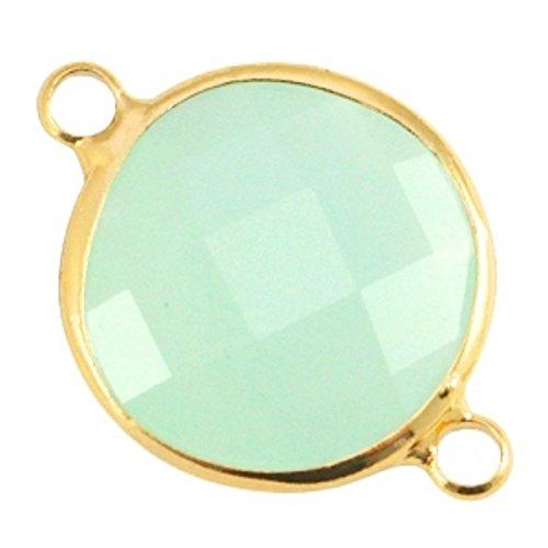 Sadingo Schmuckverbinder Kristallglas facettiert- Rund - Schmuckstein Opal - 1 Stück - 16 mm - Farbe wählbar, Farbe:Hellgrün