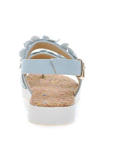 LFNLYX Scarpe Donna-Sandali-Ufficio e lavoro / Formale / Casual-Zeppe / Plateau / Alla schiava-Plateau-Finta pelle-Nero / Blu / Rosa / Bianco White