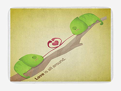 KAKICSA Animal Bath Mat, Tree Reptiles on The Branch Valentine's Love is All Around in Planet Earth, Plush Bathroom Decor Mat with Non Slip Backing, Green Cream Yellow,19.6X31.4 inch (Tube Animal Planet)