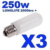 3x Longlife Halostar Double Envelope Halogen Modelling Bulb / Lamp 150w for Bowens / Elinchrom / Interfit / KARLite / Elemental & Generic Flash Heads