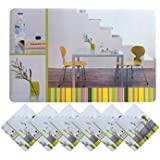 Yellow Weaves 6 Piece Dining Table Placemats With Tea Coasters- Yellow (Prints May Vary As Per Availability)