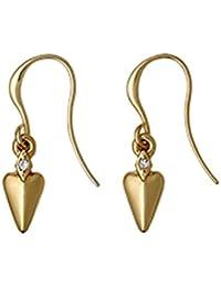 Pilgrim creased corazón & cristal gancho pendientes... 16ct chapado en oro... Pendiente de gota: 2,5cm