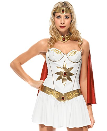 Leg Avenue 83424 - Superwoman Kostüm - weiß/gold (Small) (Supergirl Superhelden Kostüm)