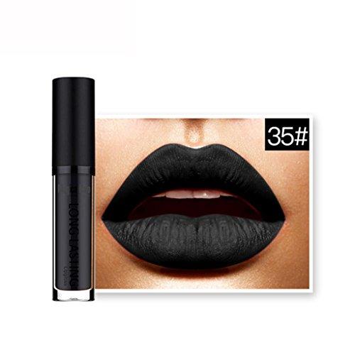 Rouges à lèvres,Covermason Imperméable à l'eau mate liquide rouge à lèvres longue durée Lip Gloss à lèvres (35#)