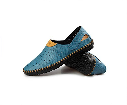 Lxxamens Summer Beach Male Slipper Lightweight Secado Rápido Real Leather Sport Sandals Two Uses Blue