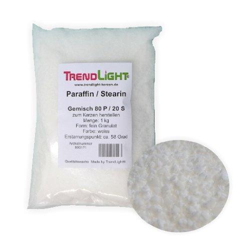 TrendLight 890171 Kompositionswachs 1 kg Wachsmischung Paraffin Stearin, 80/20 Gemisch Kerzenwachs - Tops Herd-bereich