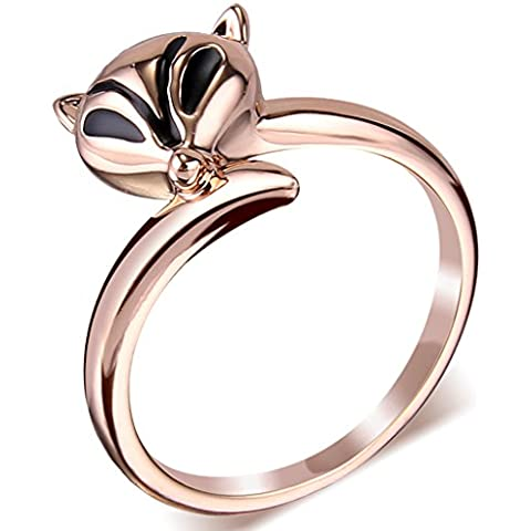 EleQueen Women's Rose Gold-tone Valentine's Gift Black Enamel Eye Adorable Fox Party Ring