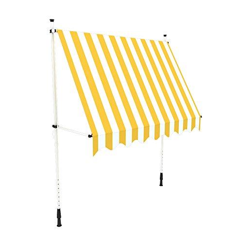 fallarmmarkise 3m paramondo Klemmmarkise, Balkonmarkise JAM, 1,95 x 1,5 m, Gestell weiß, Stoff Block, gelb-weiß