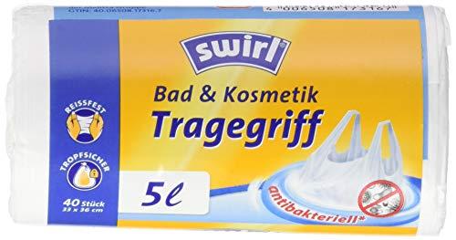 Swirl Bad & Kosmetik Tragegriff, 5 Liter, Antibakteriell, 4 Rollen mit je 40 Beuteln, Weiß