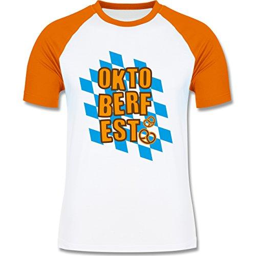 Oktoberfest Herren - Oktoberfest Rauten Brezel - zweifarbiges Baseballshirt  für Männer Weiß/Orange
