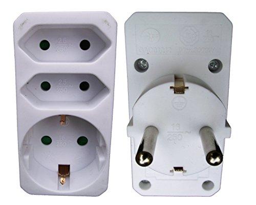 Multistecker Mehrfachstecker 2 x Euro 1 x Schuko Adapterstecker Schutzkontakt Verteiler