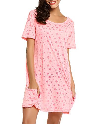 ADOME Damen Nachthemd Sleepswear O-Ausschnitt Kurzarm Star Print Nachtwäsche Nachtkleid Casual mit Tasche