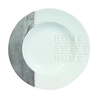 Novastyl 8010367 Home Sweet Home Lot de 6 Assiettes Gris Taupe 23 x 23 x 4 cm