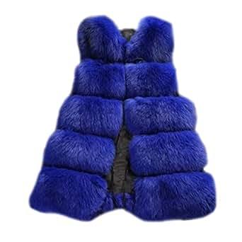 Damen Warm Jacke Weste Faux Pelz Lang Felljacke Oberteile Parka Outerwear Blau S