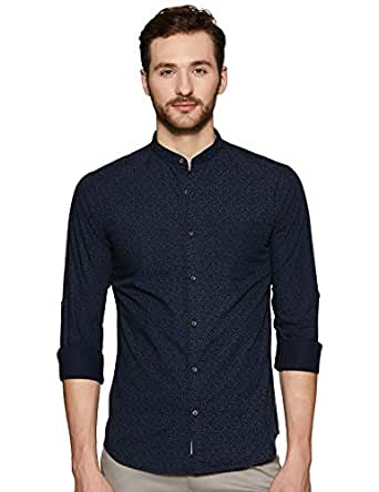 Amazon Brand - Symbol Men's Printed Regular Fit Full Sleeve Cotton Casual Shirt (AZ-SY-RM-02_7391_Navy_XX-Large)