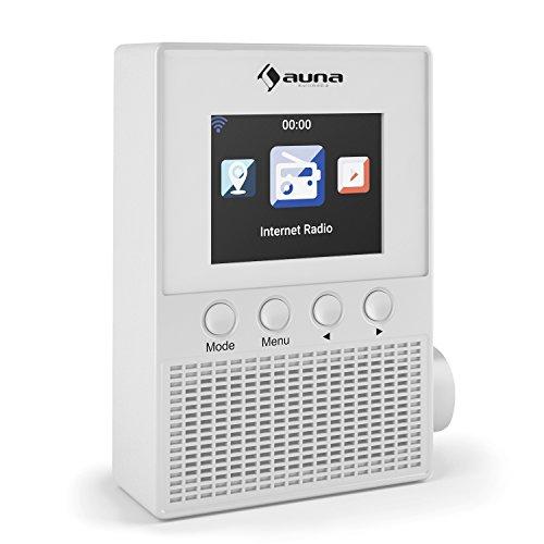 auna - Digi Plus, radio digitale, radio Wireless, altoparlanti a gamma completa integrato, Sveglia, Visualizzazione orologio, Display Meteo, la luminosità dello schermo regolabile, bianco