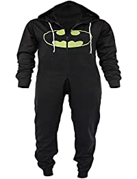 New Womens Men BOYS GIRLS Unisex Batman and Superman Print Hooded Zip Front Jumpsuit Onesie Unisex Batman Sizes 7-14,S-XXXL