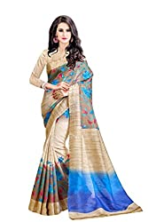 Glory Sarees Women's Bhagalpuri Art Silk Cotton Printed Saree(gloryart01_beige_blue