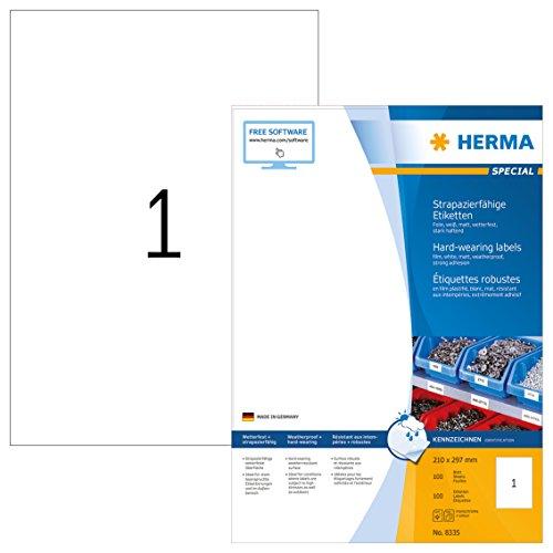 Herma 8335 Wetterfeste Folienetiketten (DIN A4 210 x 297 mm) weiß, 100 Aufkleber, 100 Blatt Klebefolie matt, bedruckbar, selbstklebend