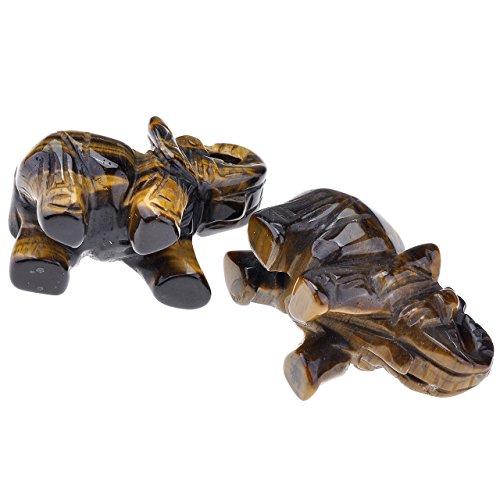 JOVIVI 2 Pouces Pierre Energie Precieuse Chakra Gravure Sculpture Elephant Feng Shui Figurine Statue Tibetin Bouddhiste Maison Decoration Bibelot + Coffret Cadeau Oeil de Tigre