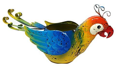 Blumentopf für Papageien aus Metall tropisch blau -
