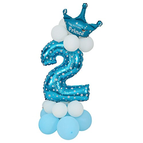 Cikuso Balloon Figures Latex Blue Giant Number Paper Balloon Balloon Baby Shower Party Children Birthday Decorations with Balloons - Number 2