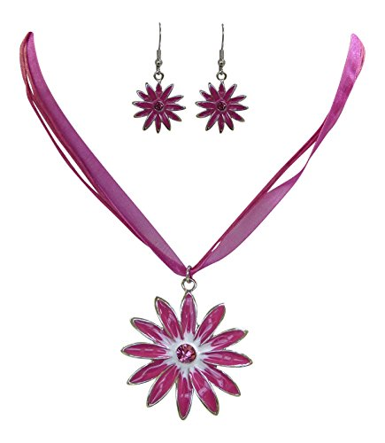 Trachtenschmuck Dirndl Blüten Kristall Set - Kette und Ohrringe (Rosa / Pink)