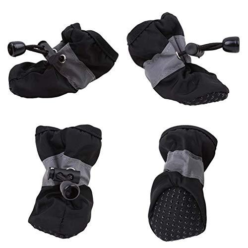 7°MR hundeschuhe 4 Stücke Wasserdichte Haustier Hund Schuhe Winter Warme Weiche Dicke Atmungsaktive Hundestiefel Rutschfeste Schuhe for Kleine Hunde Haustiere (Size : S)
