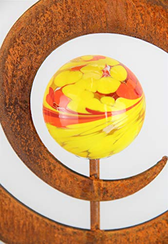 Edelrost Kreisel Gartenstecker mit Glaskugel /23cm x 100cm (1 STÜCK)