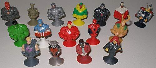 Unbekannt Komplett Satz Alle 16 Stikeez Marvel Superhelden ( z.B Thor Spiderman Hulk Captain America Rocket Racoon ) und bmg2000 Aufkleber