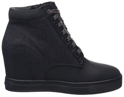 G-STAR RAW Damen Pristel Zip Wedge Hohe Sneaker Schwarz (Black)