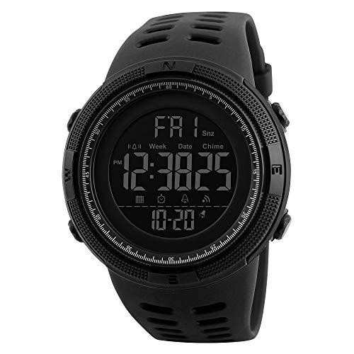 CQY Digital Outdoor Multi Funktion Uhren Große Zifferblatt Militärarmee Wasserdicht Sport Männer Wasserdichte LED Hintergrundbeleuchtung Digital Lässig,Black