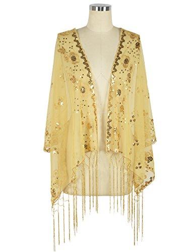 Kayamiya Damen 1920er Jahre Schal Pailletten Deco Hochzeit Wrap Abend Schal Mit Fransen Gold (Wrap Abend)