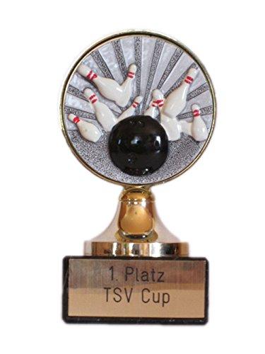 Bowling-Pokal mit Gravur und Resin-Emblem + 3 Bowling-Anstecknadeln.