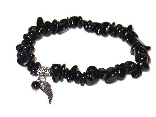 Handgefertigter Armschmuck von Engelbezauberndes Schwarzer Turmalin (Schörl) Armband Edelsteinsplitter Engelflügel mit Perle handgemacht