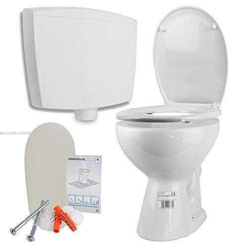 Stand WC Tiefspüler mit Spülkasten WC-Sitz mit Absenkautomatik, weiß