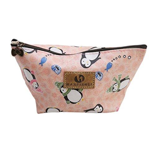 ODN Pinguin Schminkbeutel Kosmetik-Tasche Täschchen Federmappe Geschenk Beutel Mädchen -