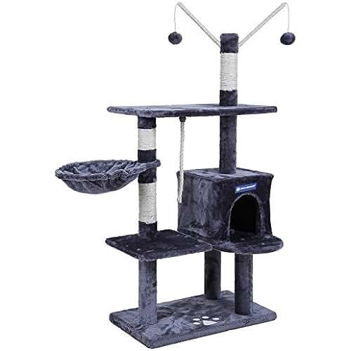 regalos kawaii gato Songmics Árbol para gatos Rascador con nidos plataformas bolas de juego gran base 134 cm PCT35G