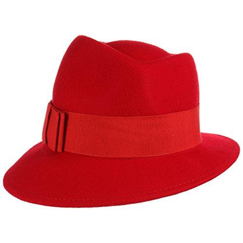 Lierys Asym Damenhut mit Ripsband Wollfilzhut Hut Filzhut für Damen Sommer Winter (One Size - rot)