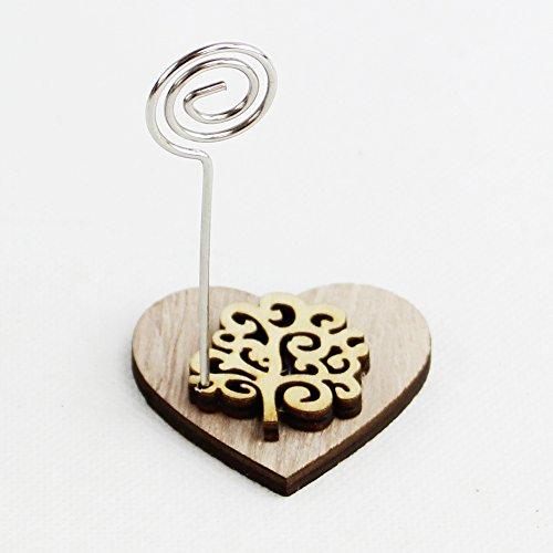 Dlm26546 (kit 12 pezzi) portafoto memo clip cuore in legno con albero della vita bomboniera