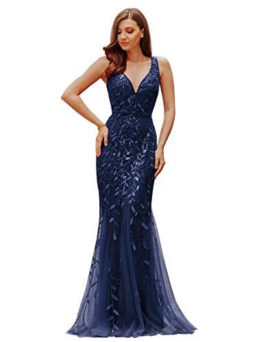 Ever-pretty abito da sera donna sirena paillettes tulle petto basso scollo a v senza maniche stile impero blu navy 38