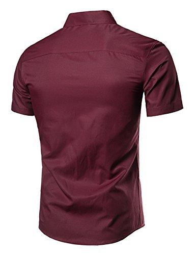 Hemd Herren Einfarbig Kurzarm Knopfe Sommer Shirt Slim Fit Schwarz Weiß Rot XS-L Glestore Weinrot