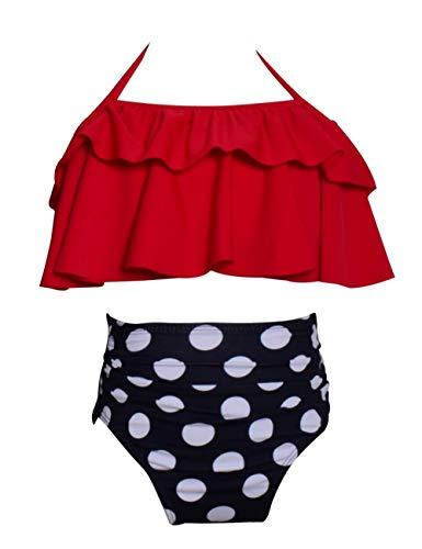 Echinodon Mädchen Bikini Set Zweiteiler Neckholder Badeanzug mit Rüschen Kinder Schwimmanzug mit Muster Bademode Rot 116