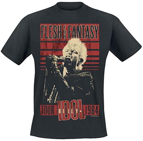 1984 Schwarzen T-shirt (Billy Idol Flesh for Fantasy Tour 1984 T-Shirt schwarz XL)