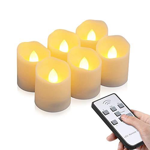 LED Kerzen, otumixx 6 LED Flammenlose Teelichter, Flackern Kerzen, Elektrische Kerze Lichter Fernbedienung mit Timerfunktion Warmweiß Dekoration für Weihnachten, Party, Hochzeit (Batterien Enthalten) - Fernbedienung Laterne