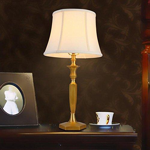 Bronze Tischlampe Einfach Luxus Atmosphäre Schlafzimmer Nachttischlampe Wohnzimmer Studie Kunst Tischlampecreativeededesignlampstylish Metall Design Stoff Schreibtischlampe Dome Lampe Warm White Light
