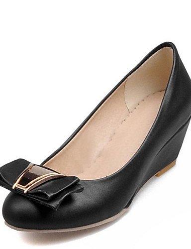 WSS 2016 Chaussures Femme-Bureau & Travail / Habillé / Décontracté-Noir / Blanc / Beige-Talon Compensé-Compensées / Escarpin Basique / Bout Arrondi black-us3.5 / eu33 / uk1.5 / cn32