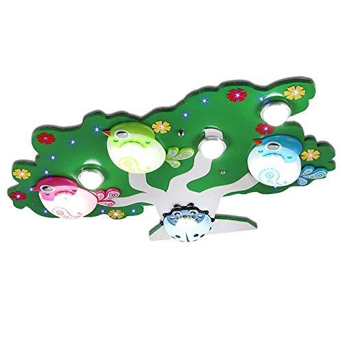 Hai Ying ♪ * Kinderzimmer LED Deckenleuchte, Moderne minimalistische kreative Vogel Cartoon Schlafzimmer Junge Mädchen Auge Gesundheitspflege Kindergarten Baum Licht, grün ♪ - Licht Grüne Bäume