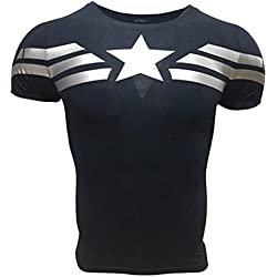 Compression Shirt Fitness Man with Superhero Drawings to Train and Do Sport. Lycra (Captain America Basic) - M