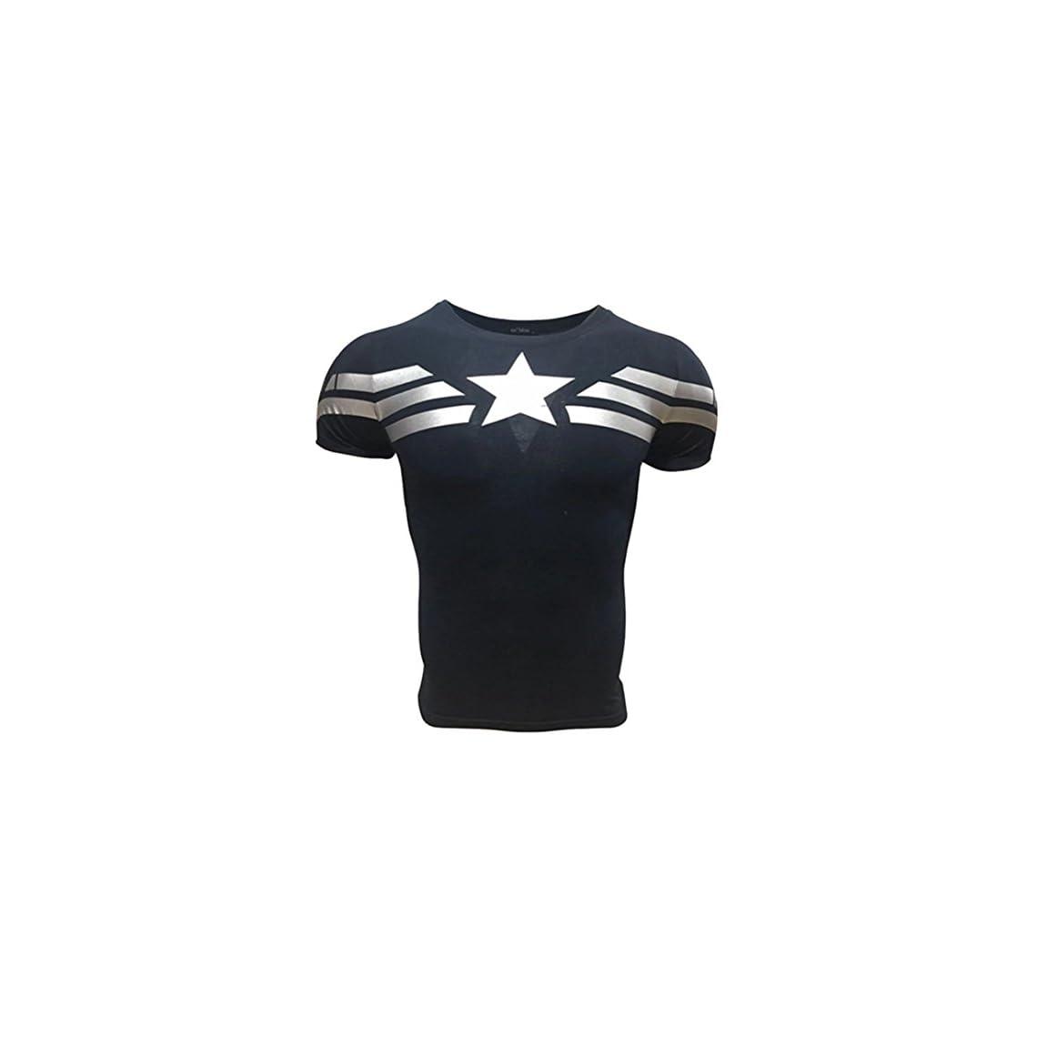 e2672df98513d A. M. Sport Camiseta Fitness Compresion Hombre con Dibujos de Superheroes  para Entrenar y Hacer Deporte.